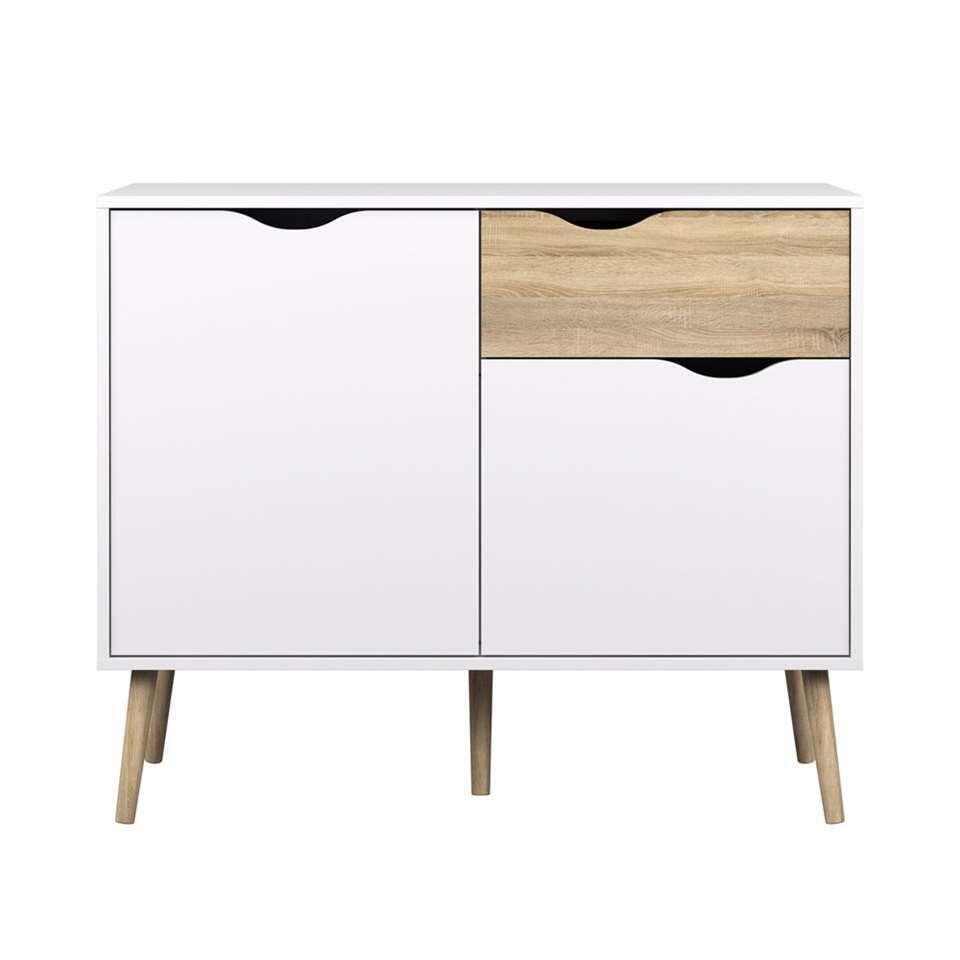 Dressoir Delta 3-vaks – wit – 81,7×98,6×39 cm – Leen Bakker