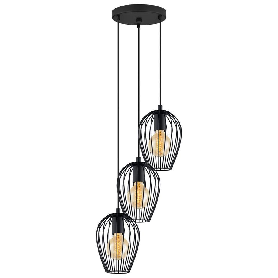Hanglamp Newton van EGLO is vervaardigd uit zwart staal. Deze lamp is enorm hip in combinatie met gloeilampen voorzien van kooldraad.