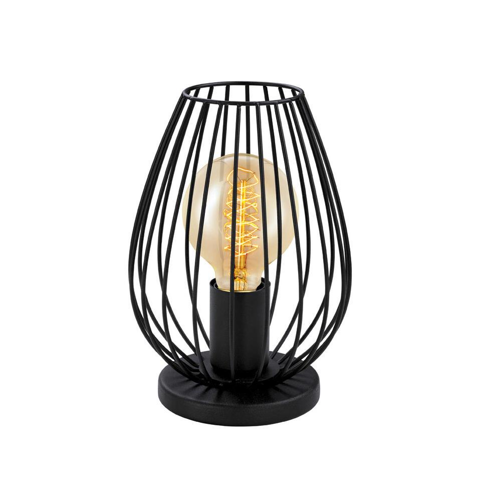 Tafellamp Newton van EGLO gemaakt van zwart staal heeft een zeer stijlvolle vorm. De lamp komt het best tot zijn recht met een vintage gloeilamp.
