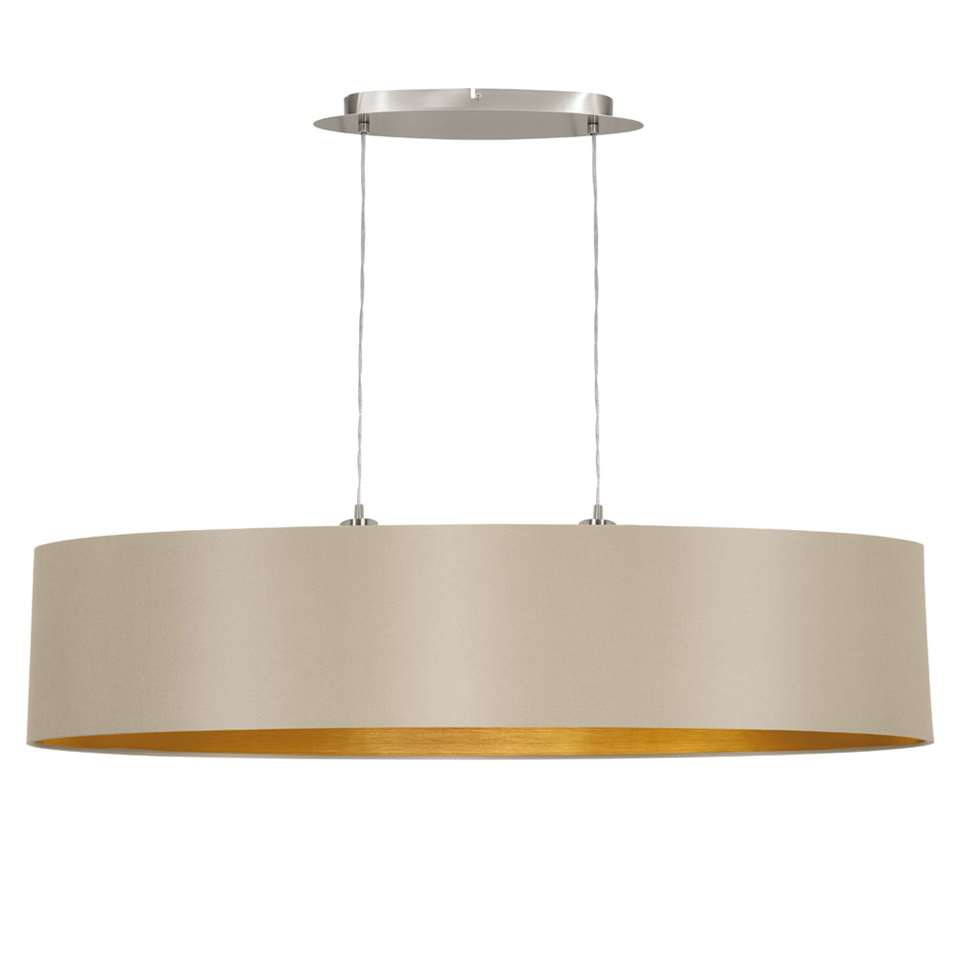 EGLO hanglamp Maserlo ovaal – taupe/goudkleur – Leen Bakker
