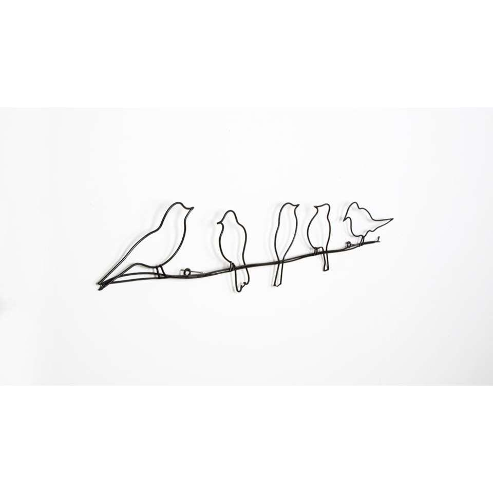 Graham & Brown Metal Art Birds on a Wire - zwart - 60x12,5 cm