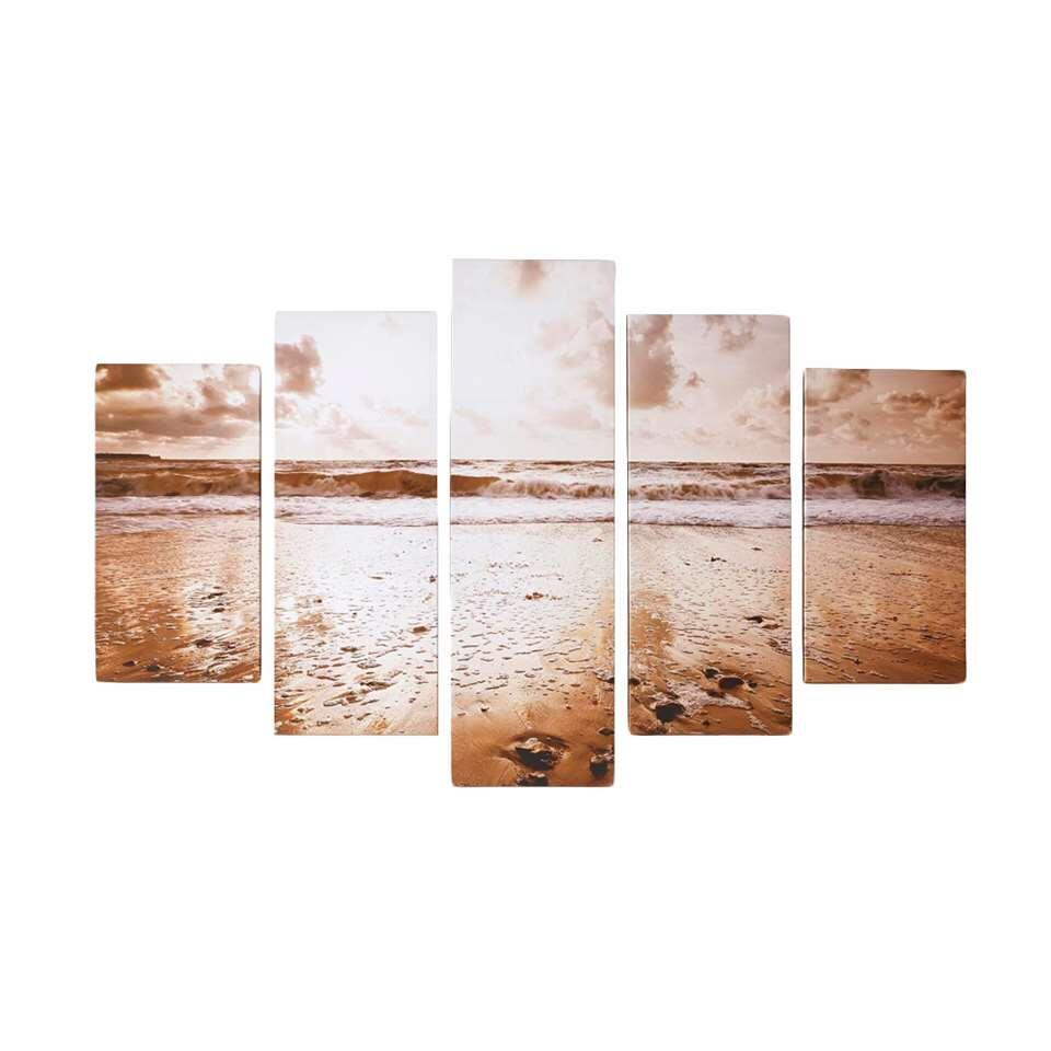 Graham & Brown canvassen set Sunrise Beach - goudkleurig - 150x100 cm