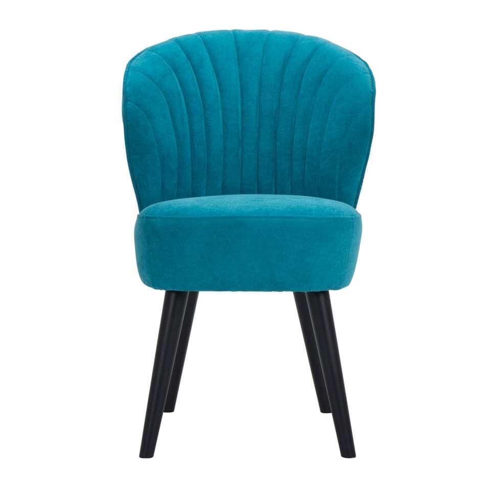 Eetkamerstoel Ventura - stof - turquoise - Leen Bakker