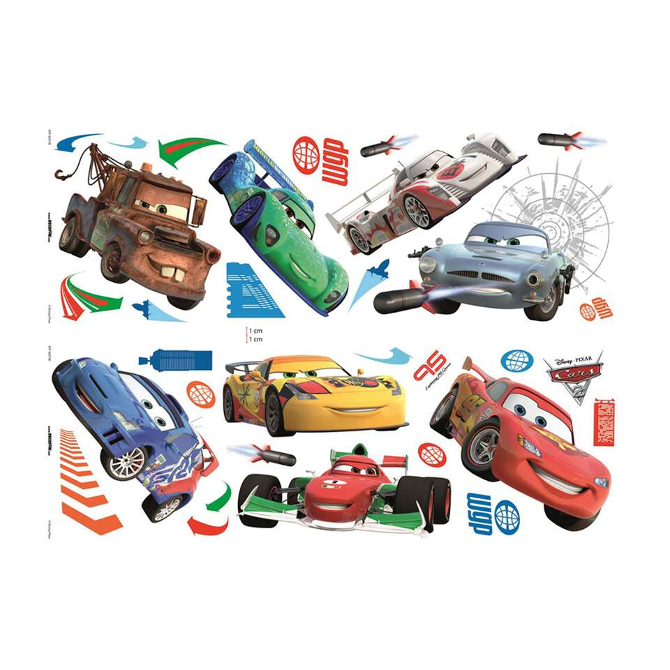 Graham & Brown muursticker Disney Cars - 70x25 cm (32 stuks) - Leen Bakker