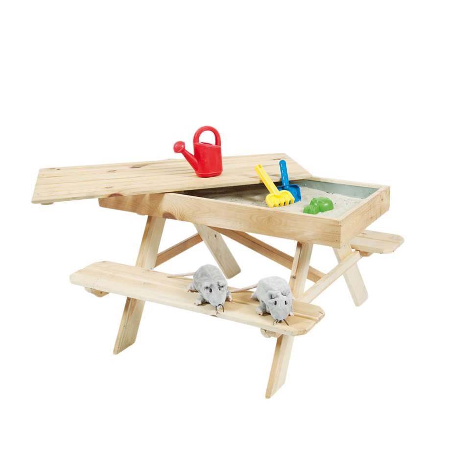 Outdoor Life kinderpicknicktafel met zandbak - blank - 55x96x94 - Leen Bakker
