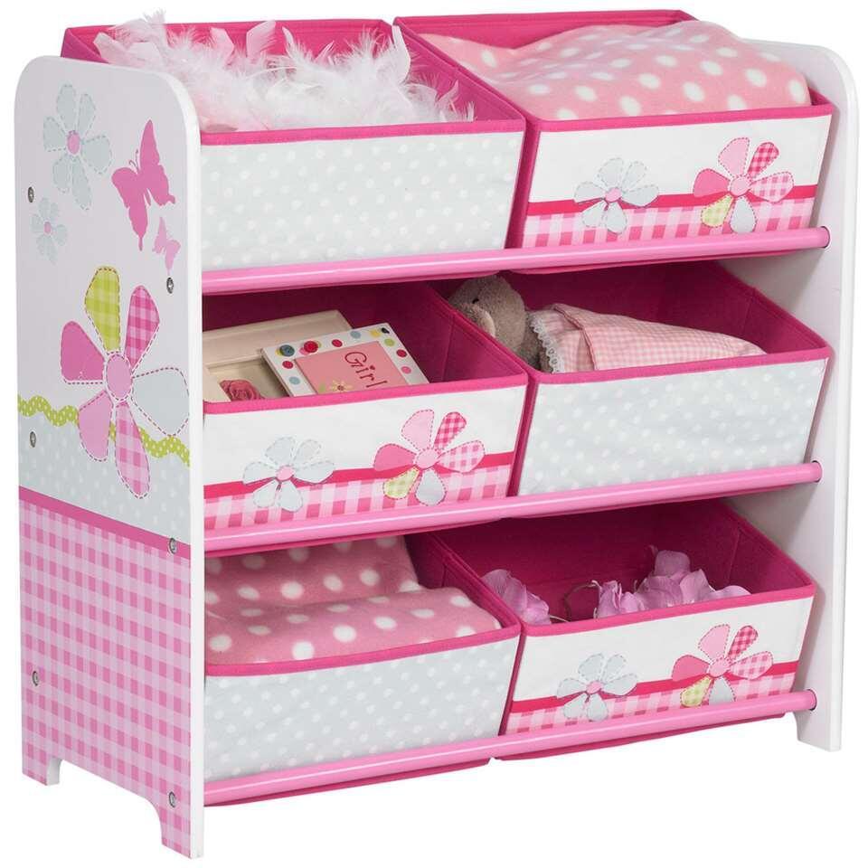 Opbergrek - roze - 60x63x30 cm - Leen Bakker
