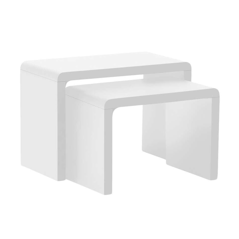 Bijzettafel Soito - hoogglans wit (2 stuks) - Leen Bakker