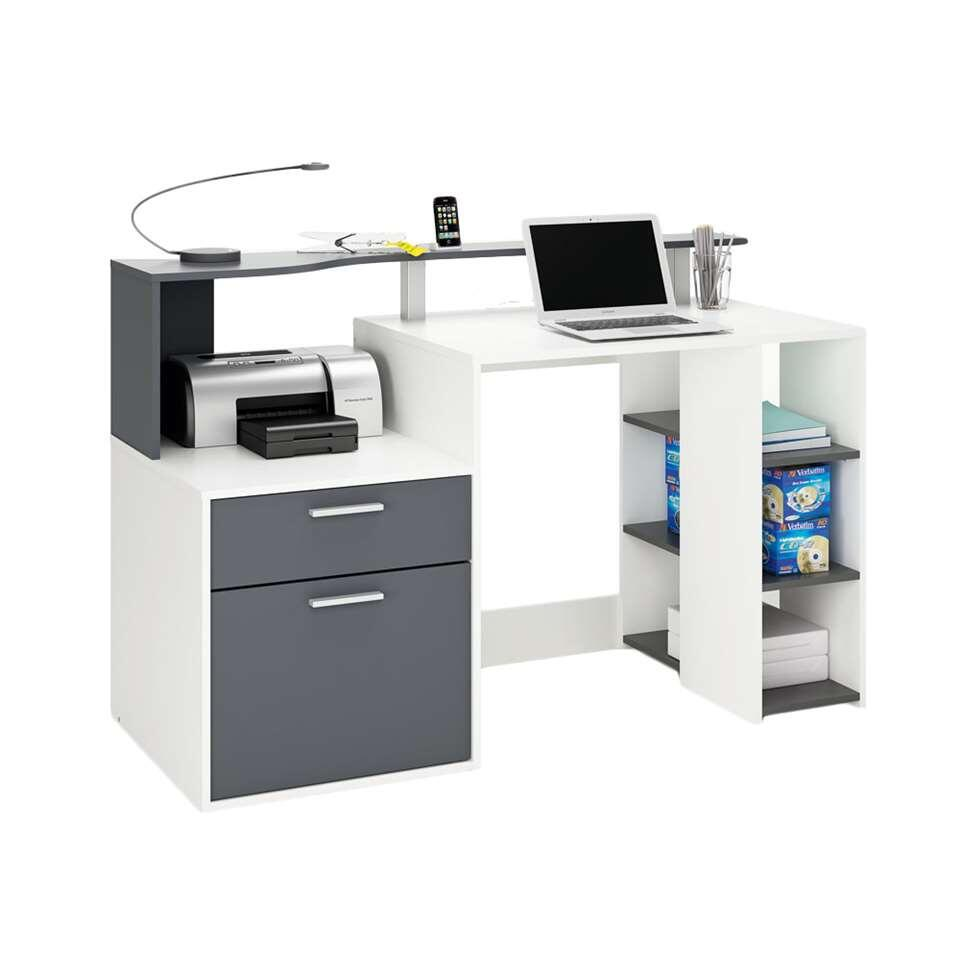 Demeyere bureau Oracle - wit/antraciet - 55,1x139,8x91 cm