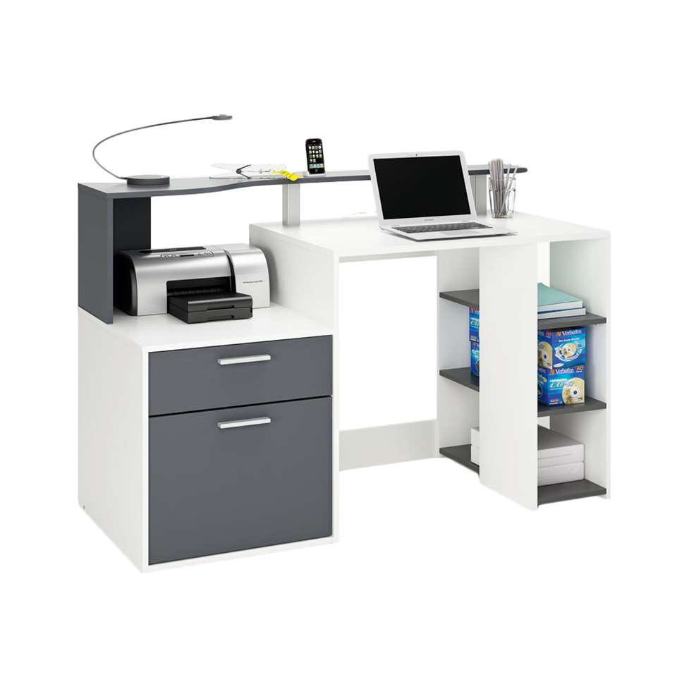Demeyere bureau Oracle - wit/antraciet - 55,1x139,8x91 cm - Leen Bakker