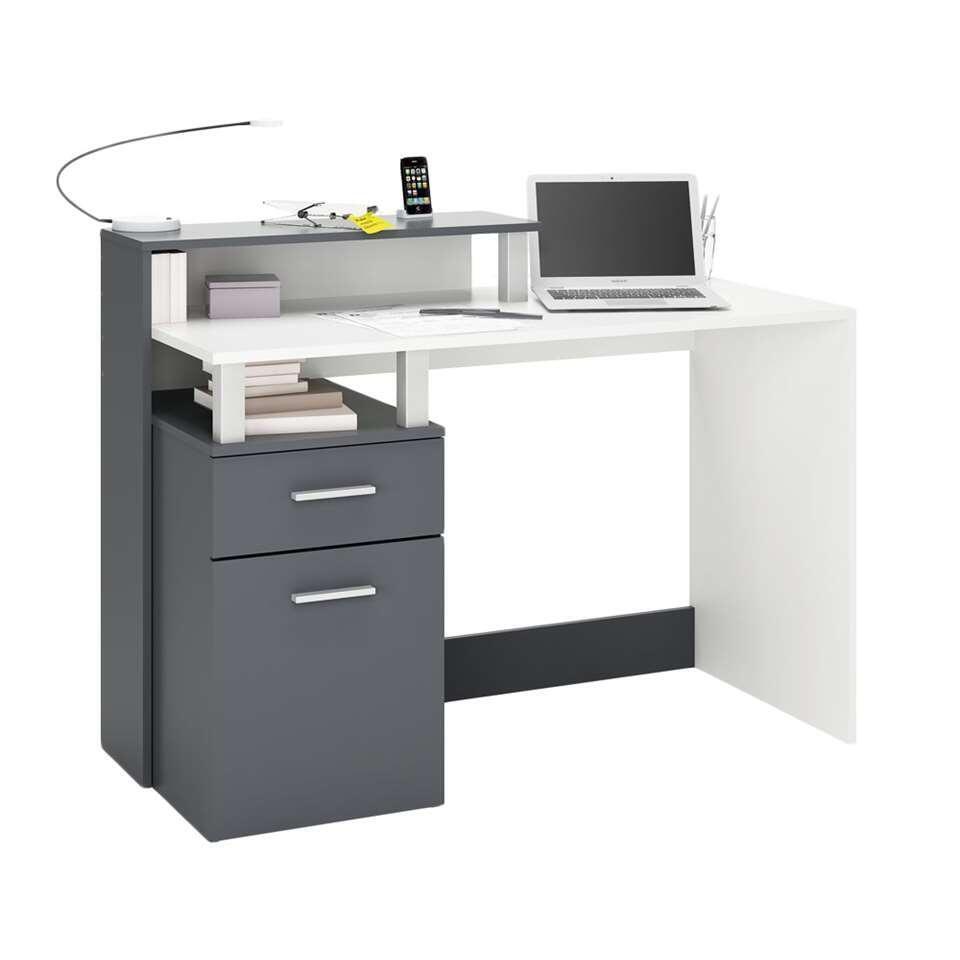 Demeyere bureau Oracle - antraciet/wit - 55x119 cm - Leen Bakker