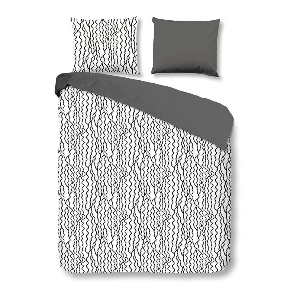 Good Morning dekbedovertrek draadpatroon - zwart/wit - 240x200/220 cm - Leen Bakker