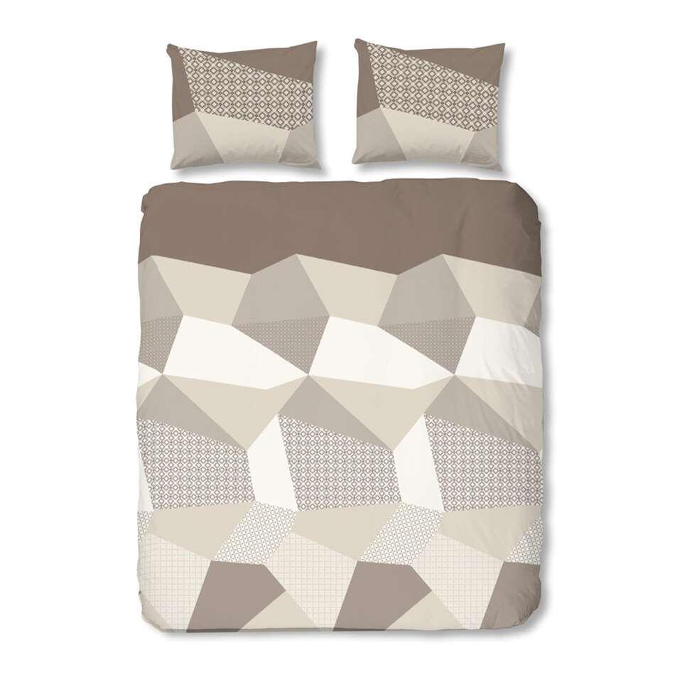 Good Morning dekbedovertrek Geometrisch - taupe - 240x200/220 cm - Leen Bakker