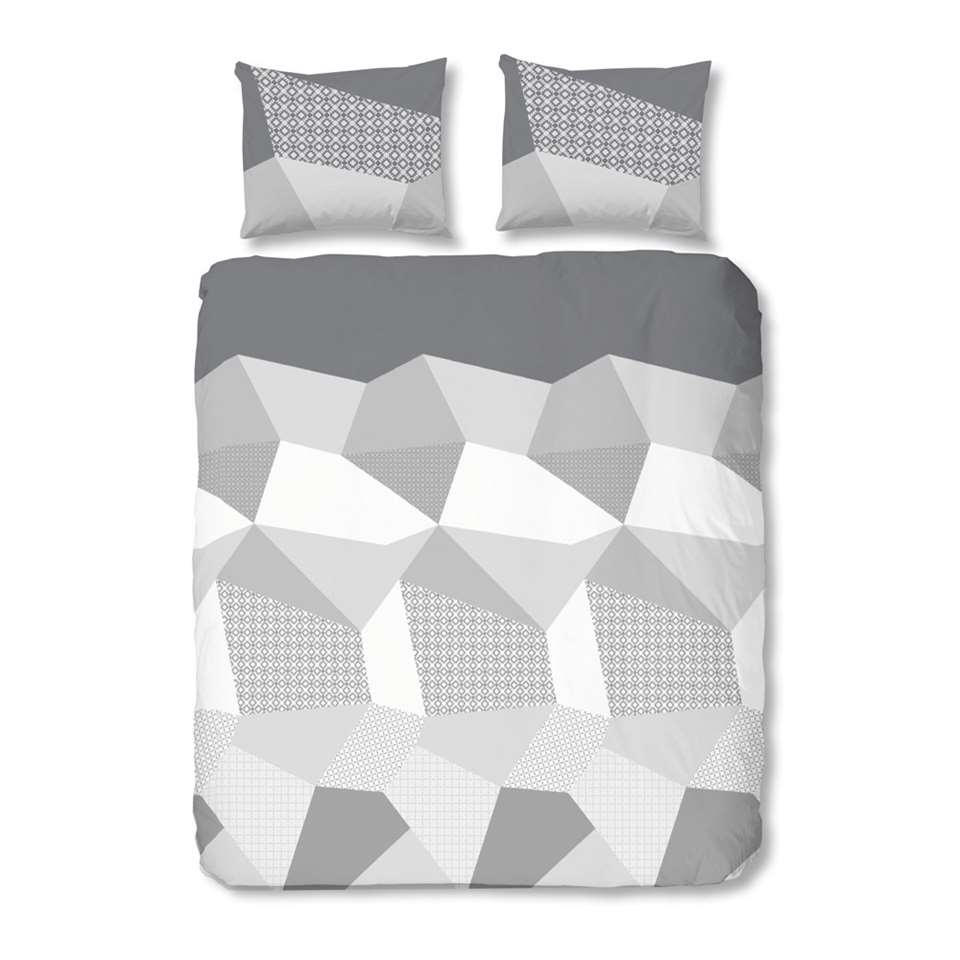Good Morning dekbedovertrek Geometrisch - grijs - 240x200/220 cm - Leen Bakker