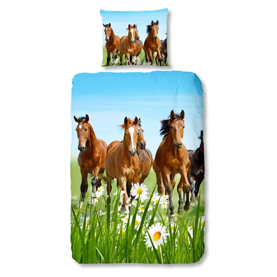 Good Morning kinderdekbedovertrek Paarden - multikleur - 140x200/220 cm