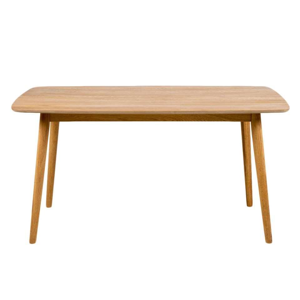 Eetkamertafel Uflborg is een moderne tafel met een naturel tafelblad van 150 cm. Het solide frame is gemaakt van eikenhout.