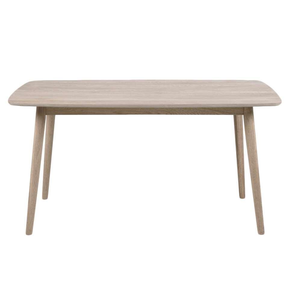 Eetkamertafel Ulborg is een moderne tafel met een beige tafelblad van 150 cm. Het solide frame is gemaakt van licht eikenhout.