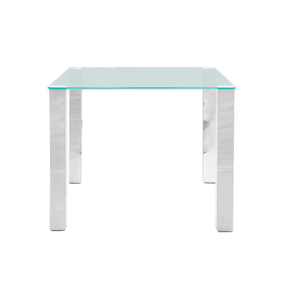 Eetkamertafel Vandel - transparant - 90x90x75 cm - Leen Bakker