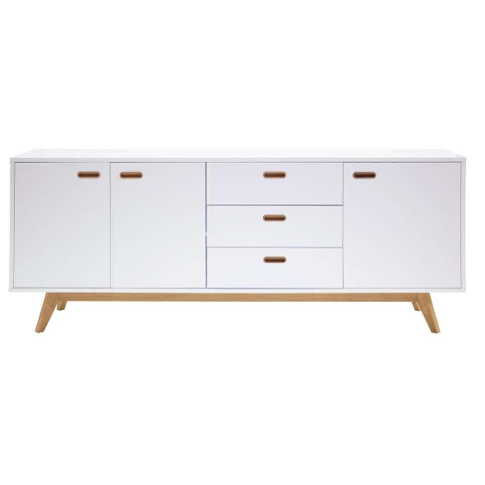 Tenzo dressoir Bess - wit/eiken - 82x200x43 cm
