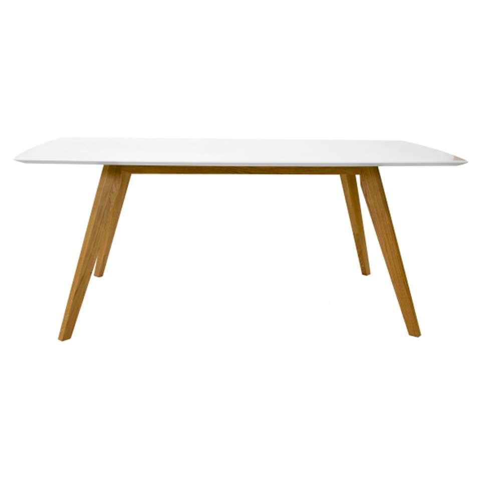 Table à manger Bess - blanc/chêne - 185x95 cm