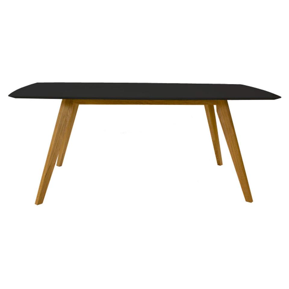 Tenzo eetkamertafel Bess - zwart/eiken - 185x95 cm