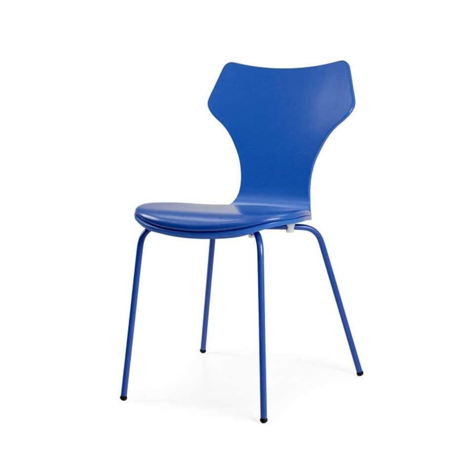 Tenzo eetkamerstoel Lolly incl. zitkussen - MDF - blauw (4 stuks) - Leen Bakker