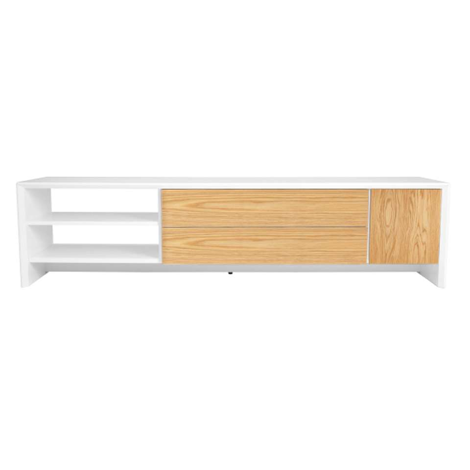 Tenzo TV-meubel Profil - wit/eiken - 44x180x47 cm - Leen Bakker