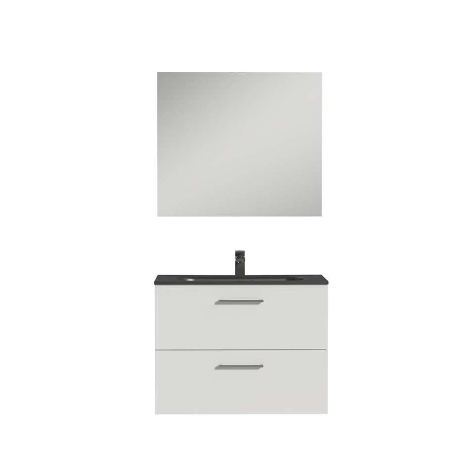 Tiger badkamermeubel Studio - hoogglans wit/zwart - 80 cm - Leen Bakker