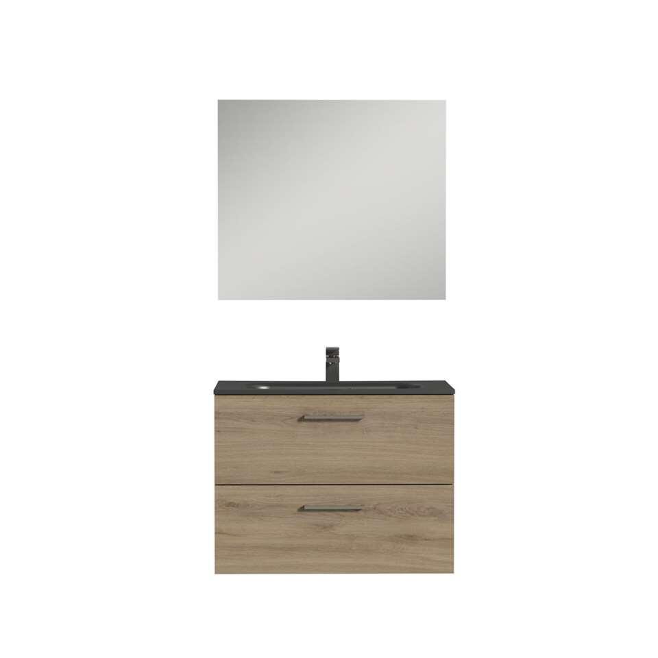 Tiger badkamermeubel Studio - chalet eik/zwart - 80 cm - Leen Bakker