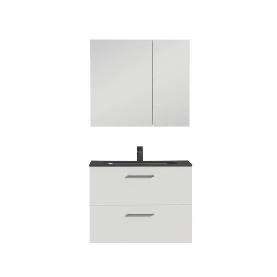 Tiger badkamermeubel Studio - hoogglans zwart/wit - 80 cm - Leen Bakker