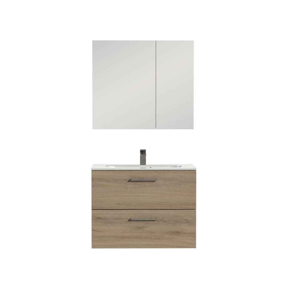Tiger badkamermeubel Studio - chalet eiken/wit - 80 cm - Leen Bakker