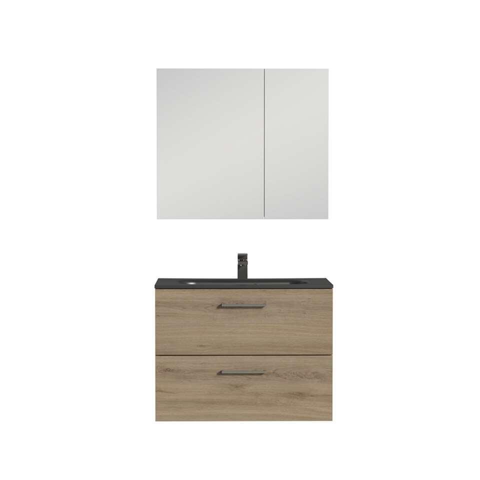 Tiger badkamermeubel Studio - chalet eiken/zwart - 80 cm - Leen Bakker