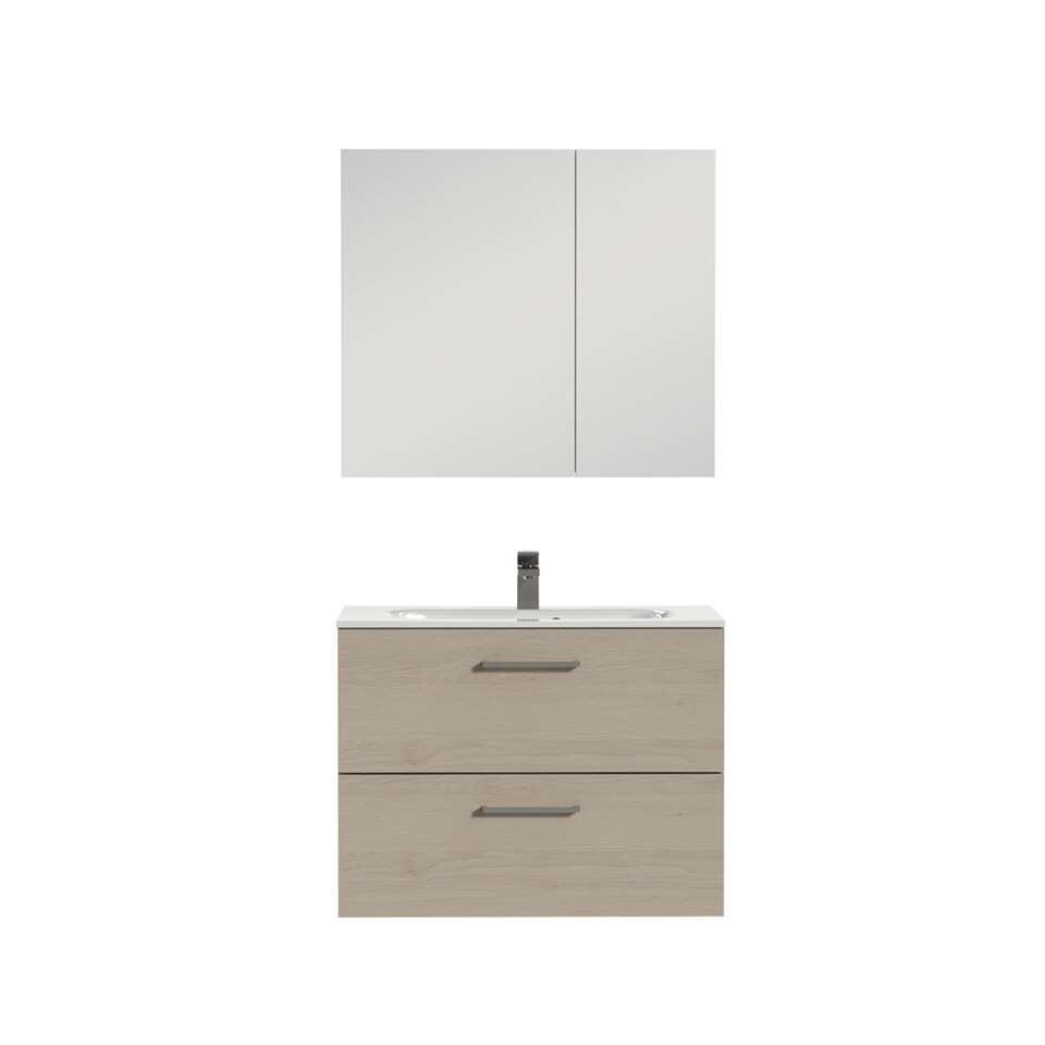 Tiger badkamermeubel Studio - naturel eiken/wit - 80 cm - Leen Bakker