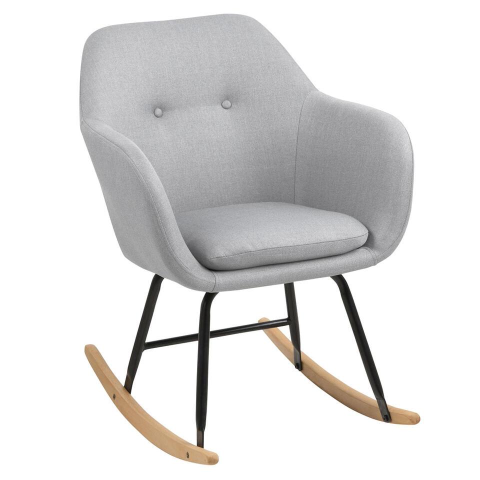 Schommelstoel Anada is een echte eyecatcher in je interieur! De stoel is bekleed met een lichtgrijze stof en zit heerlijk. Dit is een slijtvaste en zeer comfortabele meubelstof genaamd Corsica.