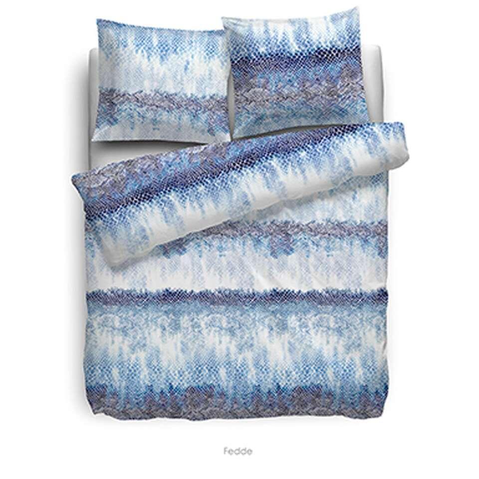 Heckett & Lane dekbedovertrek Fedde - blauw - 200x220 cm - Leen Bakker