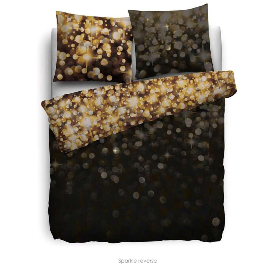 Heckett & Lane dekbedovertrek Sparkle - zwart - 200x220 cm - Leen Bakker