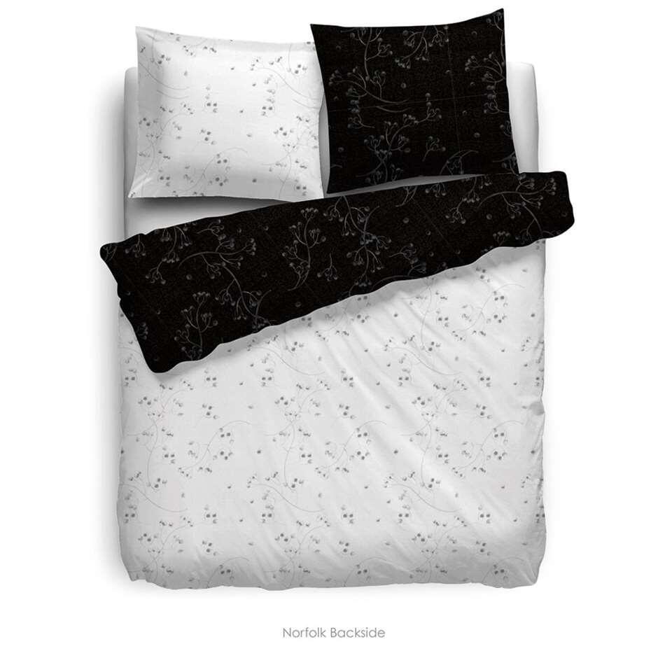 Heckett & Lane dekbedovertrek Norfolk - zwart/wit - 140x220 cm - Leen Bakker