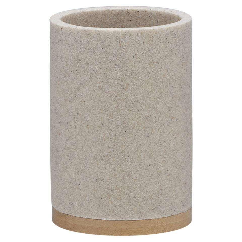 Sealskin beker Grace - zandkleur - 10,6x7,3x7,3 cm - Leen Bakker