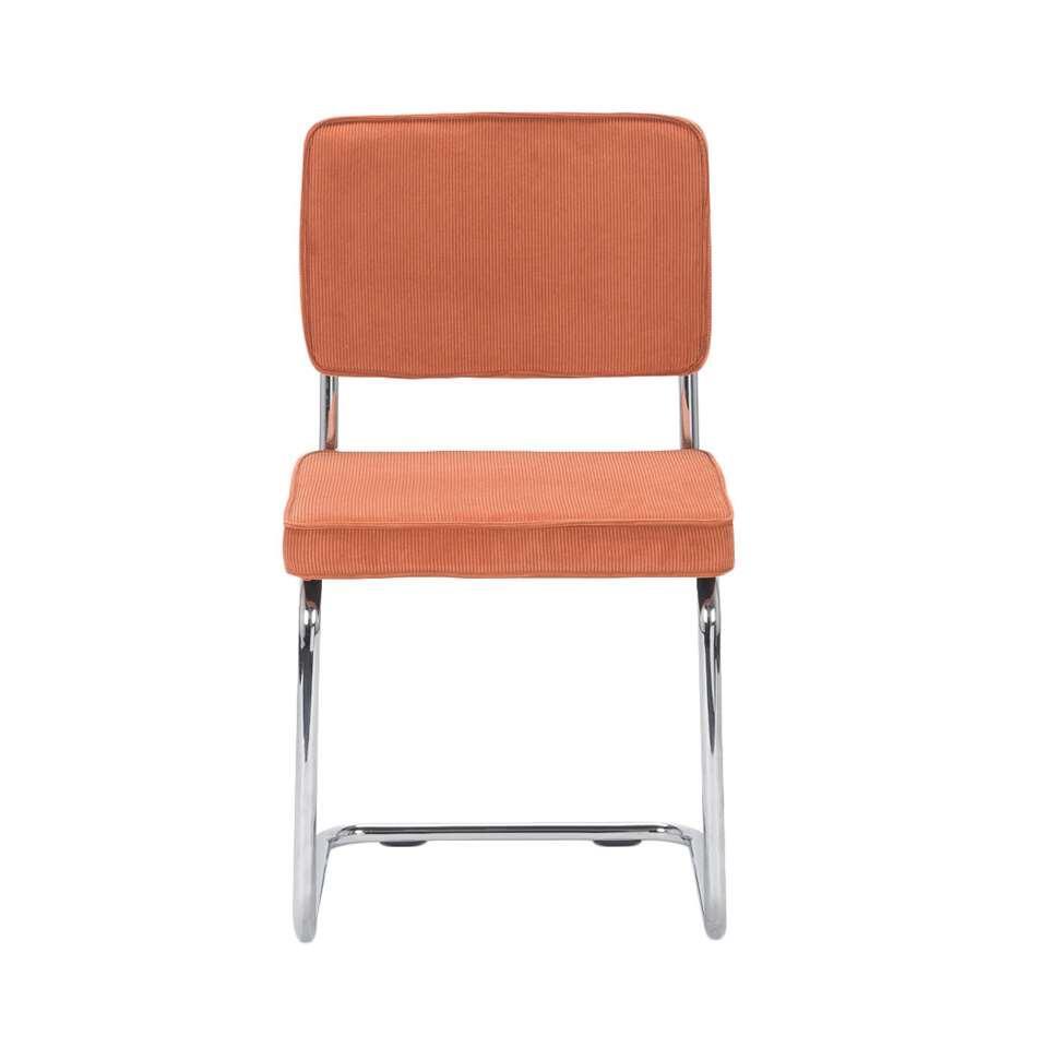 Eetkamerstoel Berga – stof – oranje (2 stuks) – Leen Bakker