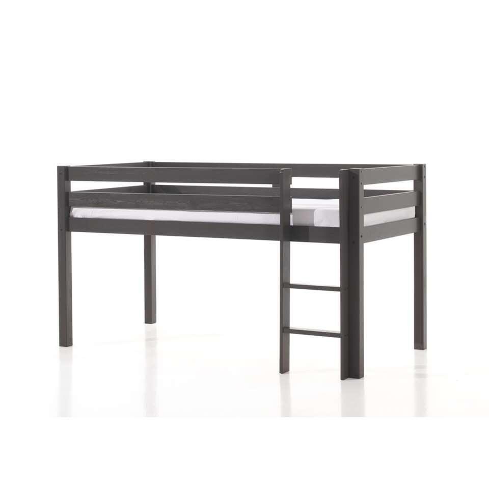 Vipack halfhoogslaper Pino met bureau en boekenkast - taupe - 114x105,4x209,4 cm - Leen Bakker