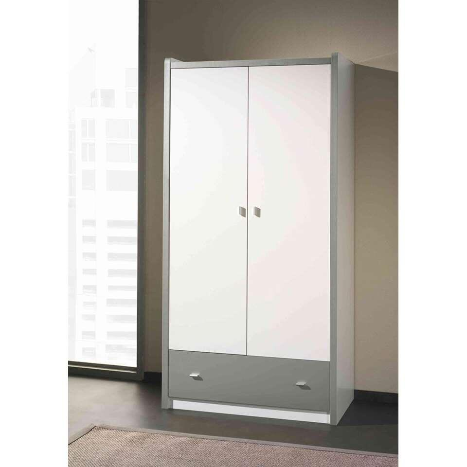 Vipack 2-deurs kinderkledingkast Bonny - zilver - 202x97x60 cm - Leen Bakker