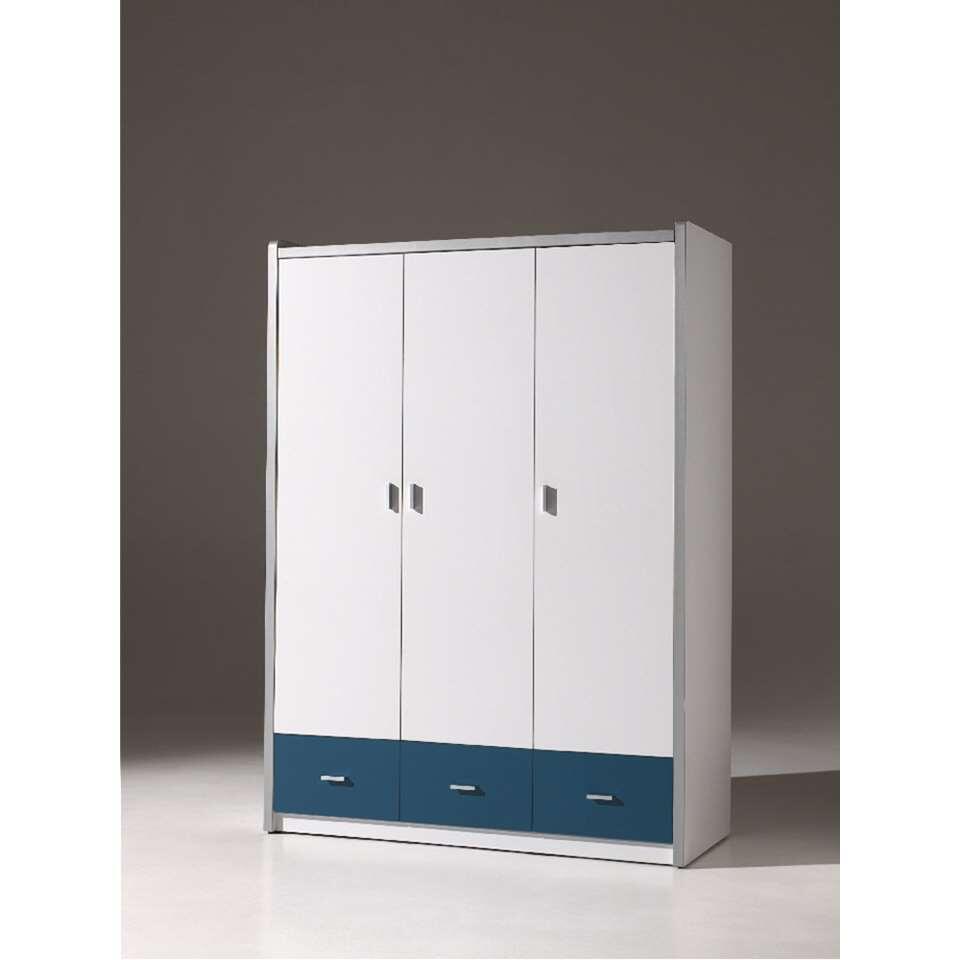Vipack 3-deurs kledingkast Bonny - blauw - 202x141x60 cm - Leen Bakker
