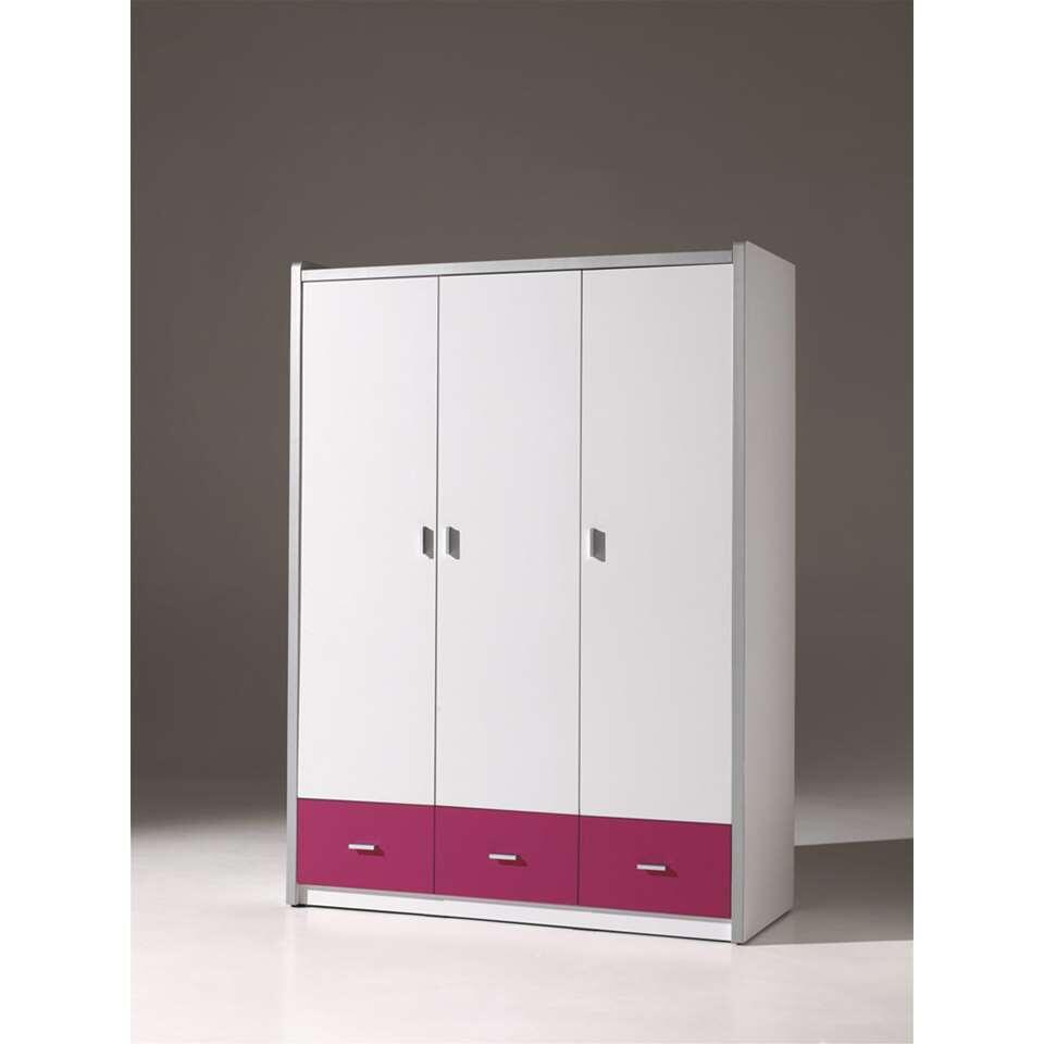 Vipack 3-deurs kledingkast Bonny - fuchsia - 202x141x60 cm - Leen Bakker