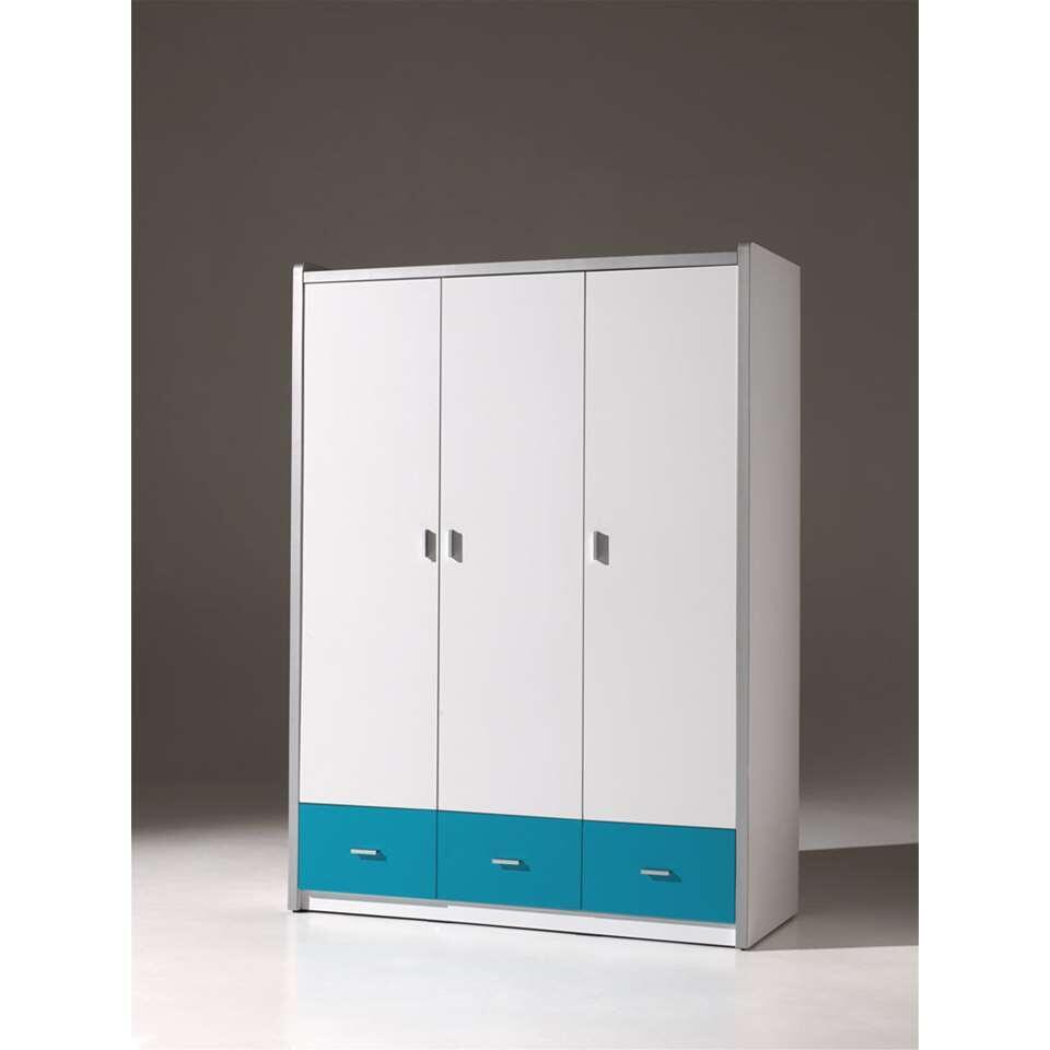 Vipack 3-deurs kledingkast Bonny - turquoise - 202x141x60 cm - Leen Bakker