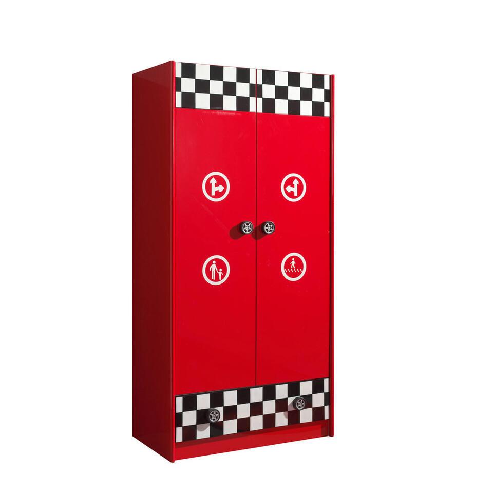 Vipack 2-deurs kledingkast Monza - rood - 190x90x55 cm - Leen Bakker