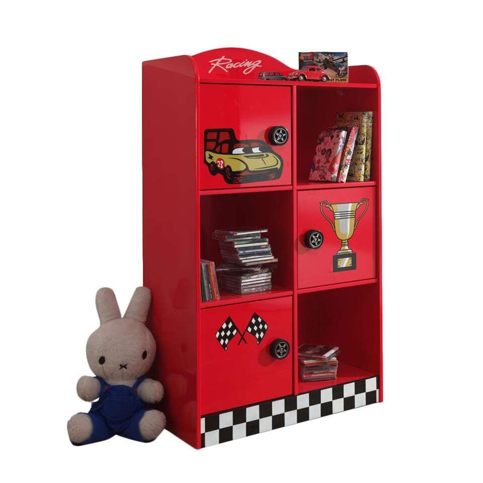 Vipack boekenkast Racer - rood - 133x60x42 cm - Leen Bakker