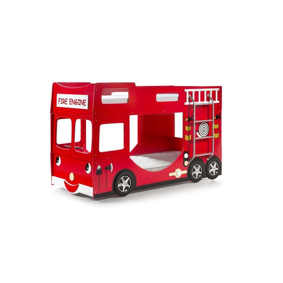 Vipack stapelbed Brandweer - rood - 141x97x227 cm - Leen Bakker