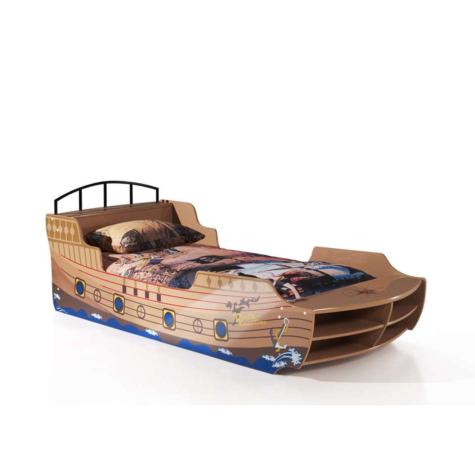 Vipack bed Piratenboot - bruin - 63x94,6x248 cm - Leen Bakker