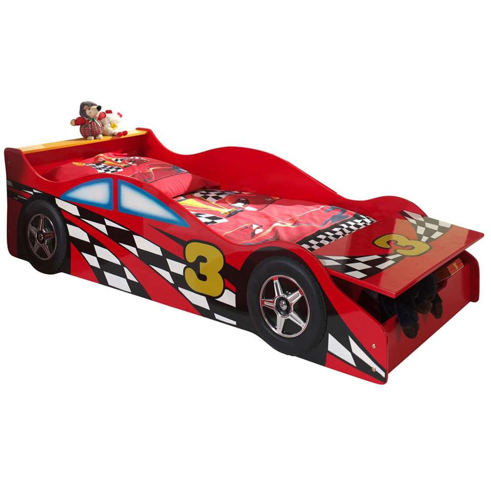 Vipack autobed Race - rood - 48x78x175 cm