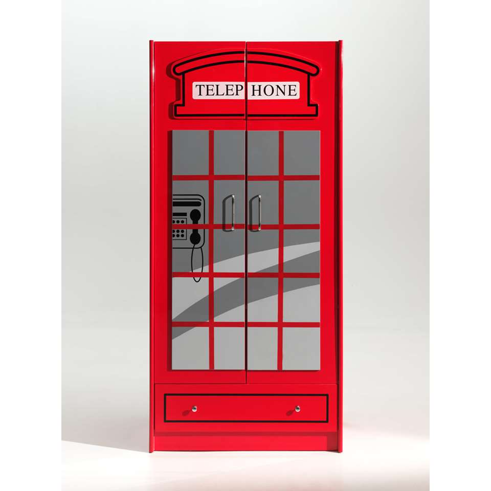 Vipack 2-deurs kinderkledingkast Telefooncel London rood