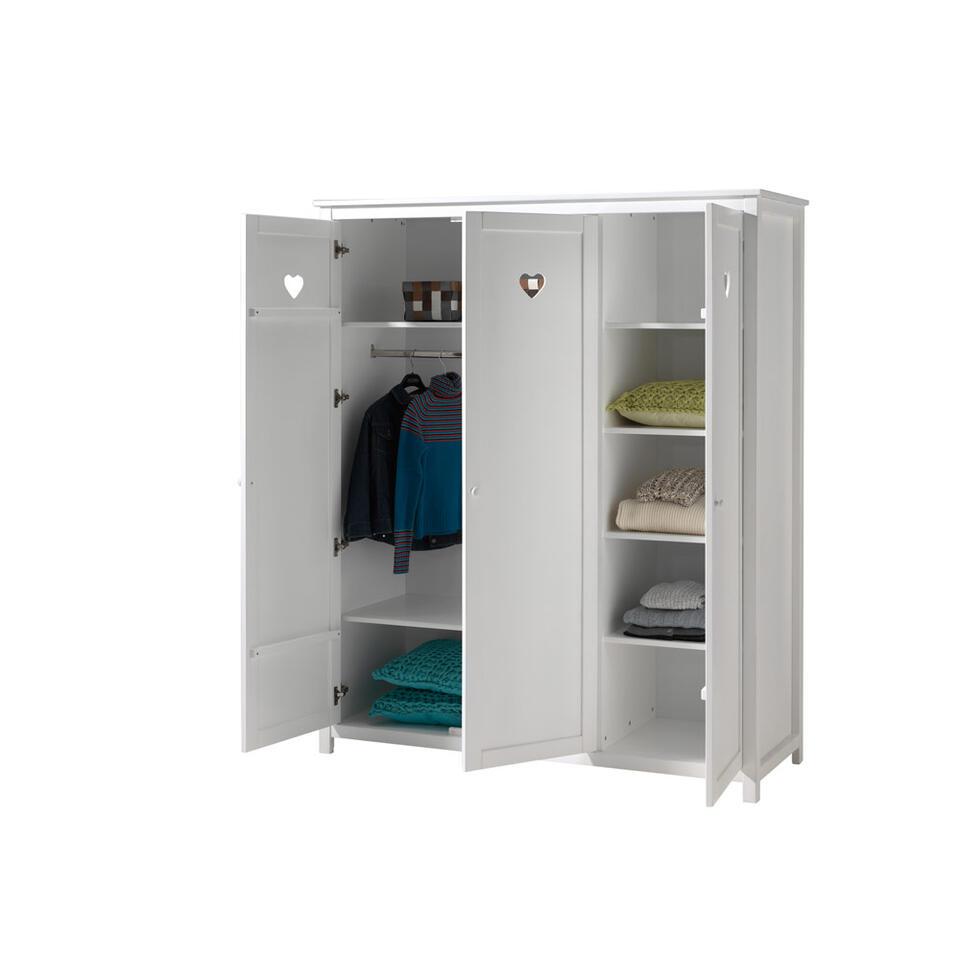 Vipack 3 deurs kledingkast amori wit for Kledingkasten outlet